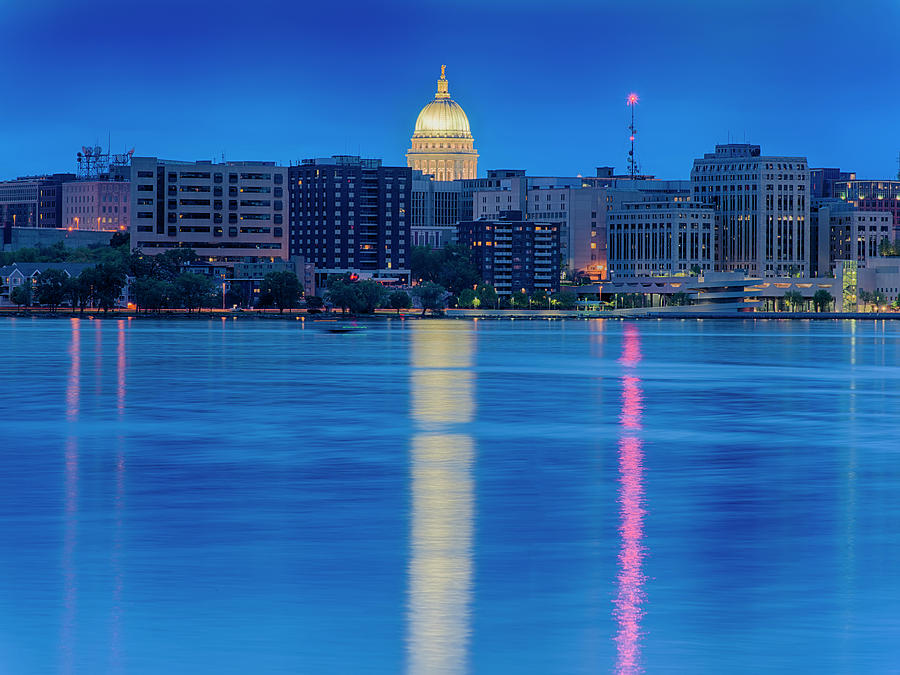 Madison Skyline Reflection by Sebastian Musial