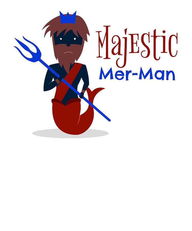 Mermaids Digital Art - Majestic Mer Man 1 by Kaylin Watchorn