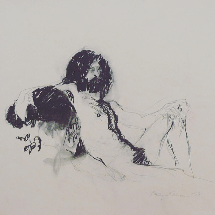 Seated Drawing - Male Nude I by Galya Tarmu
