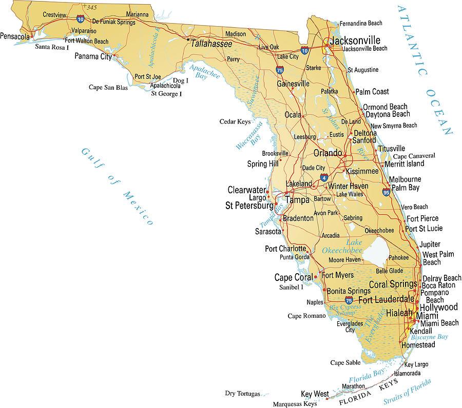 Map of Florida Drawing by Gio_banfi