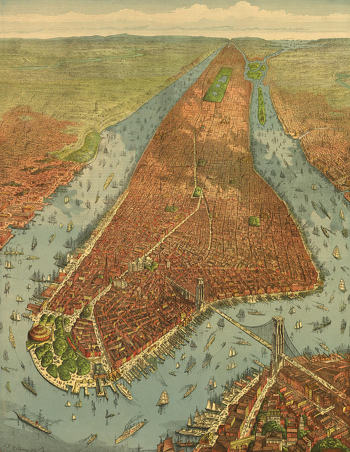 Map Of New York 1879 Photograph