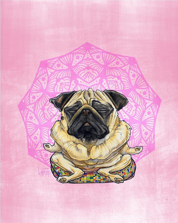 Meditating Pug Drawing