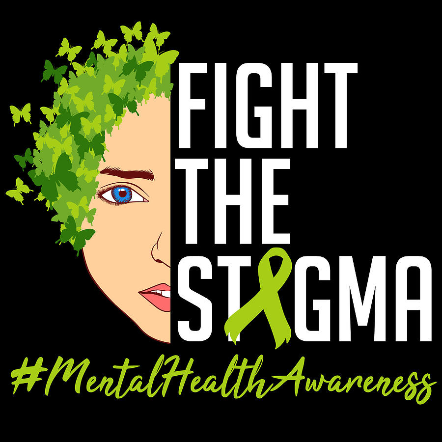 Mental Health Matters End The Stigma Tshirt Design Brain Psychologist Help Support Raise Awareness Mixed Media By Roland Andres