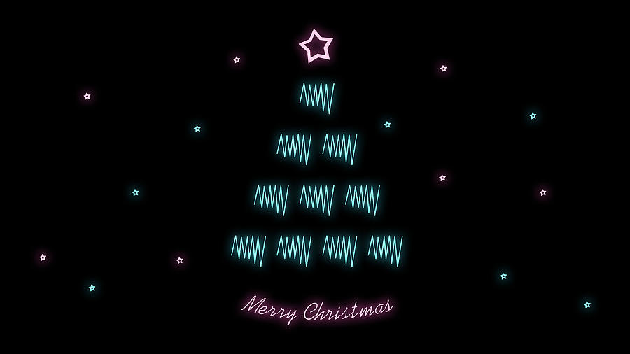 1 merry christmas blue pink tree on black background abstract neon wallpaper elena sysoeva
