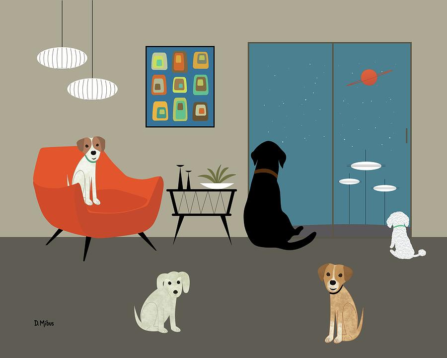 Mid Century Modern Dogs by Donna Mibus