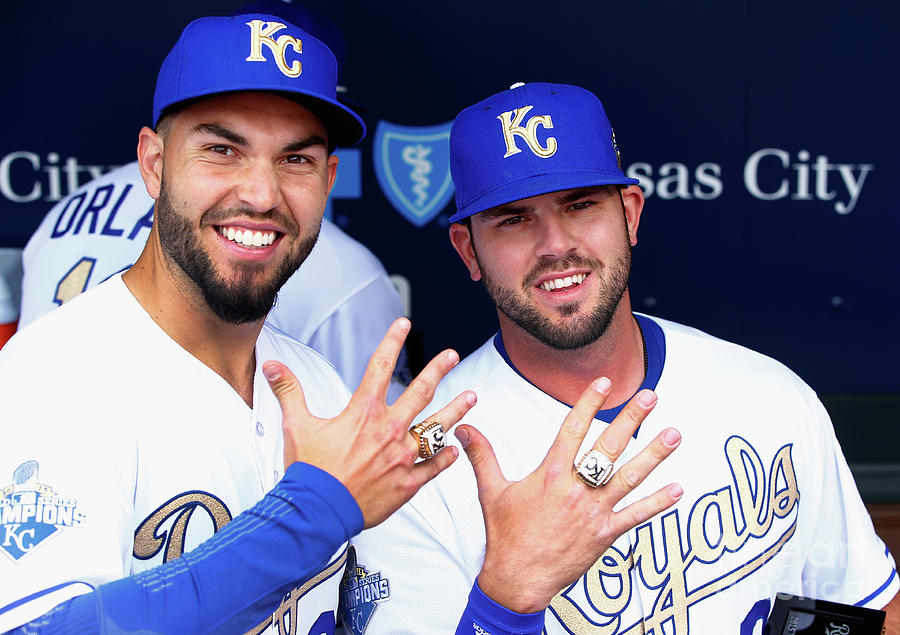 Mike Moustakas and Eric Hosmer Photograph by Jamie Squire