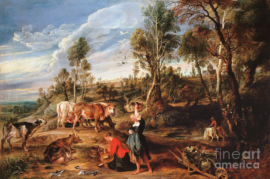 Milkmaids with Cattle in a Landscape by Peter Paul Rubens