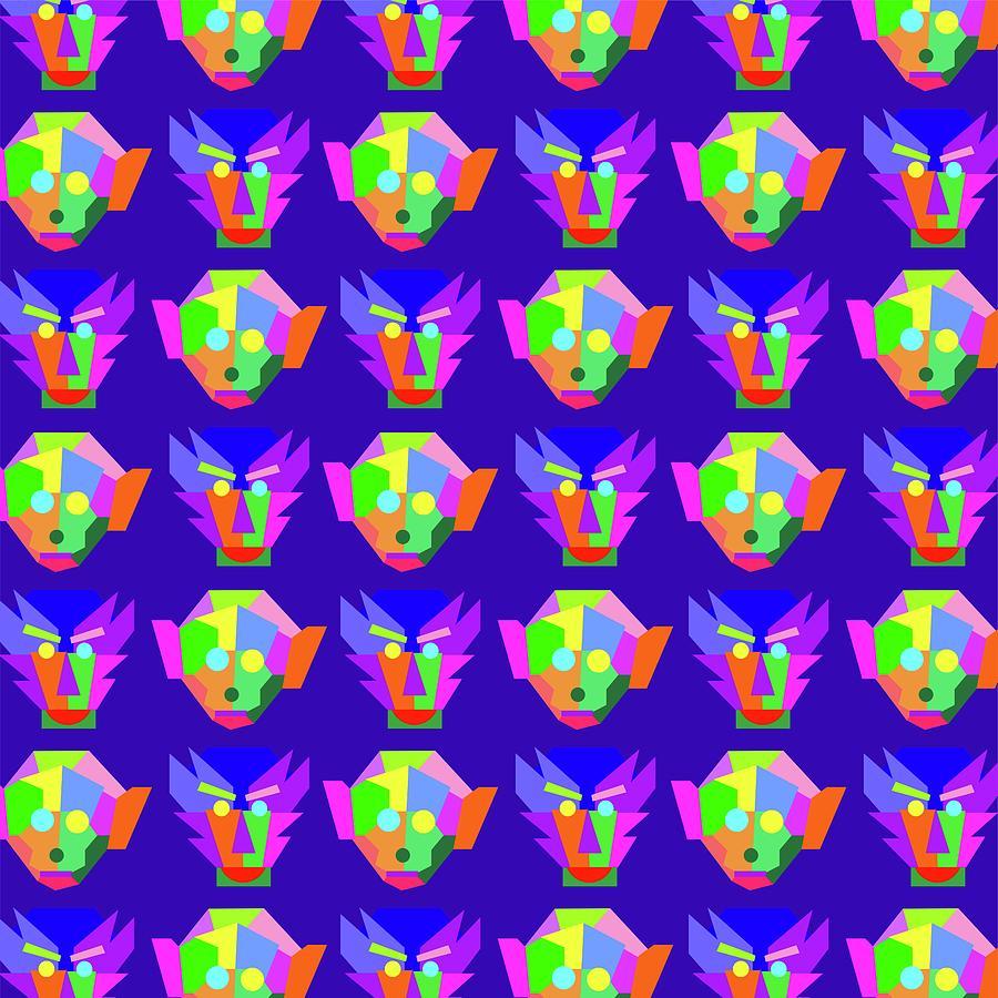 Monkeys Pattern Wpap Style Blue Background Digital Art