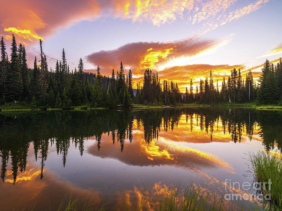 Mount Rainier National Park Sunrise Cloudscape Photograph