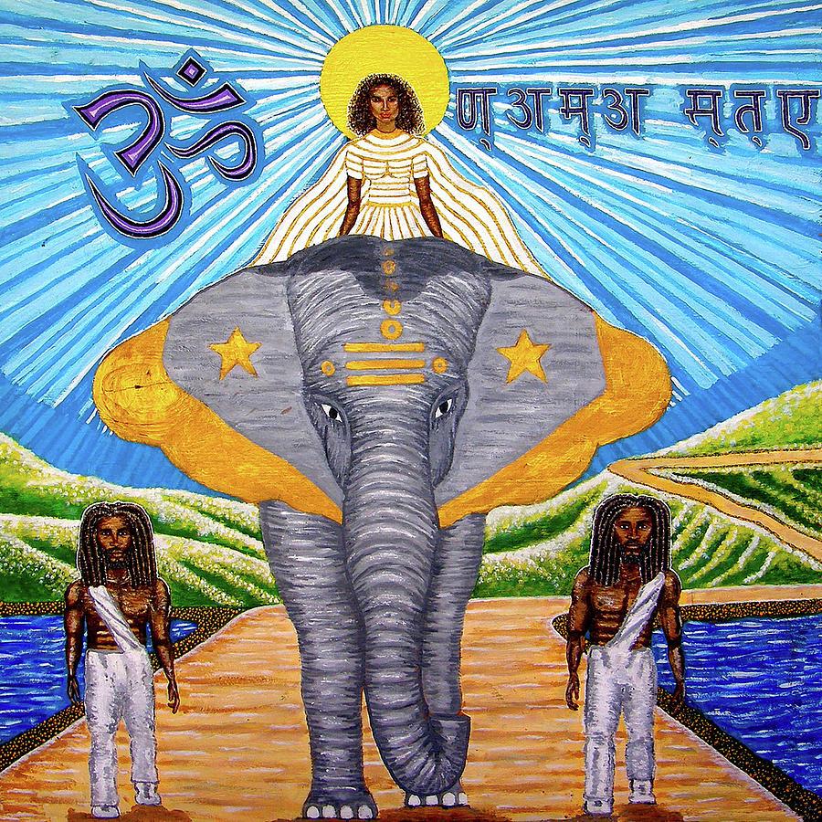 Elephant Painting - Namaste by Far I Shields