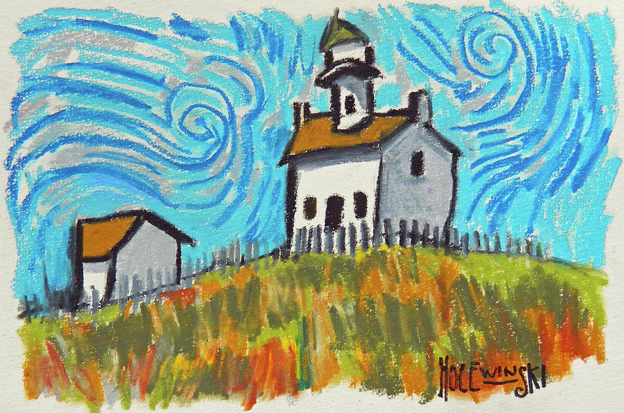 New England Painting - New England Lighthouse by Robert Holewinski