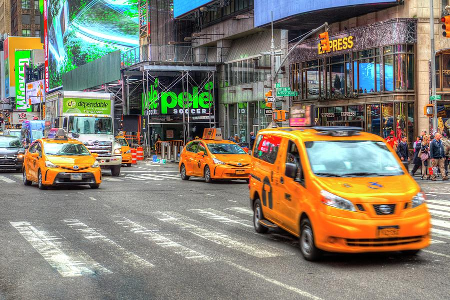 New York Taxis Times Square by David Pyatt