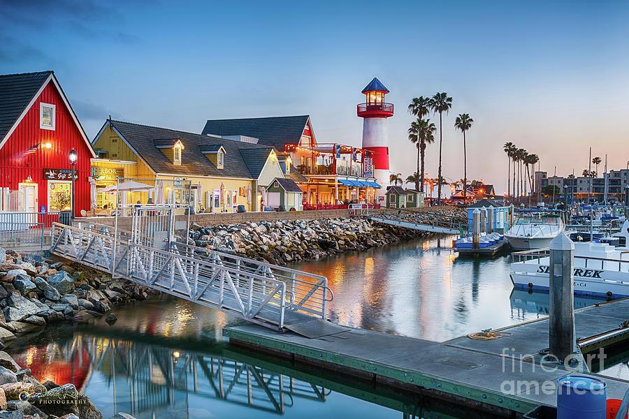 Oceanside Harbor Village at Dusk by David Levin