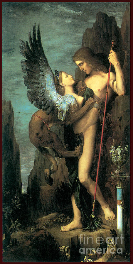 Oedipus And The Sphinx 1864 Painting