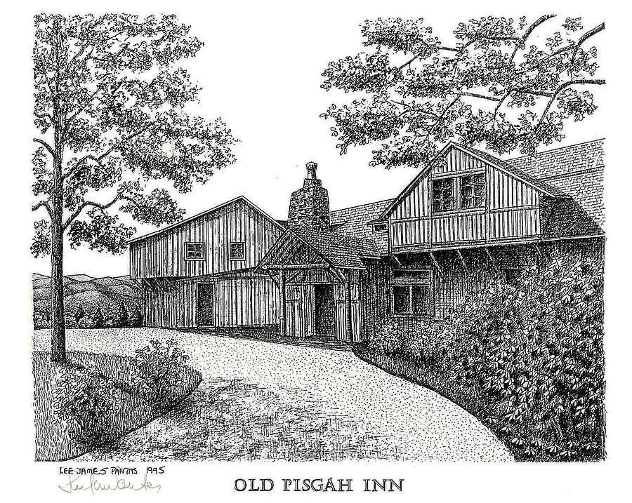 Old Pisgah Inn in  1918 Drawing by Lee Pantas
