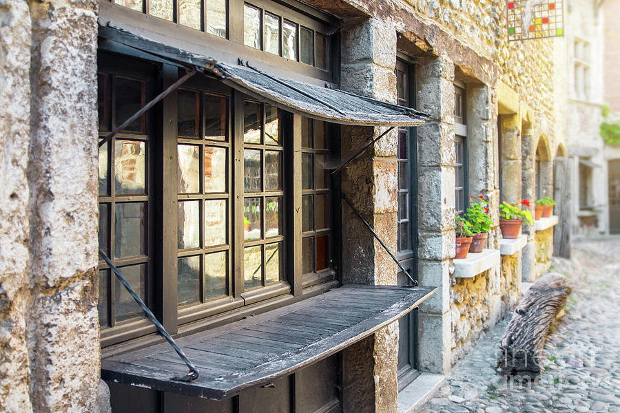 Old window shutter from Middle Ages in Perouges medieval village by Gregory DUBUS