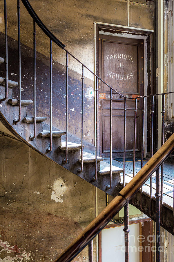 Old Wooden Staircase - Paris France Photograph