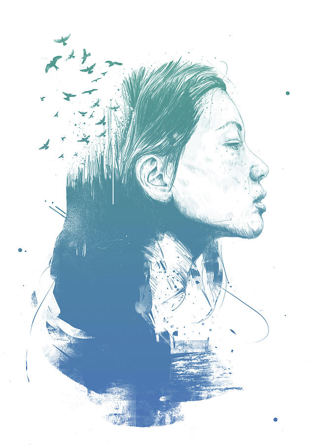 Girl Drawing - Open your mind by Balazs Solti