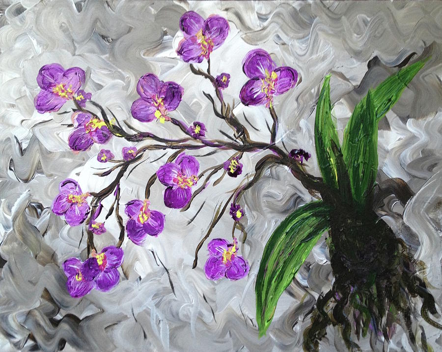 Flowers Painting - Purple Orchids by Britt Miller