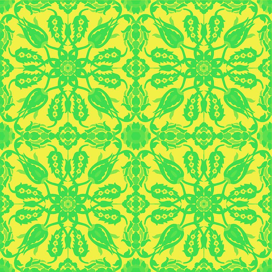Ottoman Iznik Islamic Style Geometric Tile No 2f Digital Art