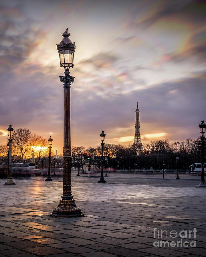 Eiffel Tower Photograph - Paris Place de la Concorde Obelisk Sunset by Thomas Speck