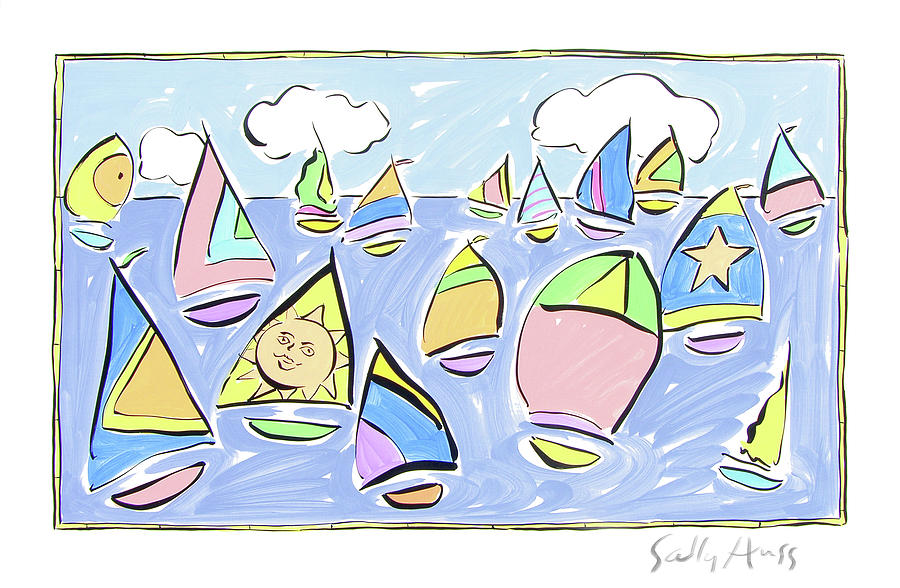 Water Painting - Pastel Sailboats by Sally Huss