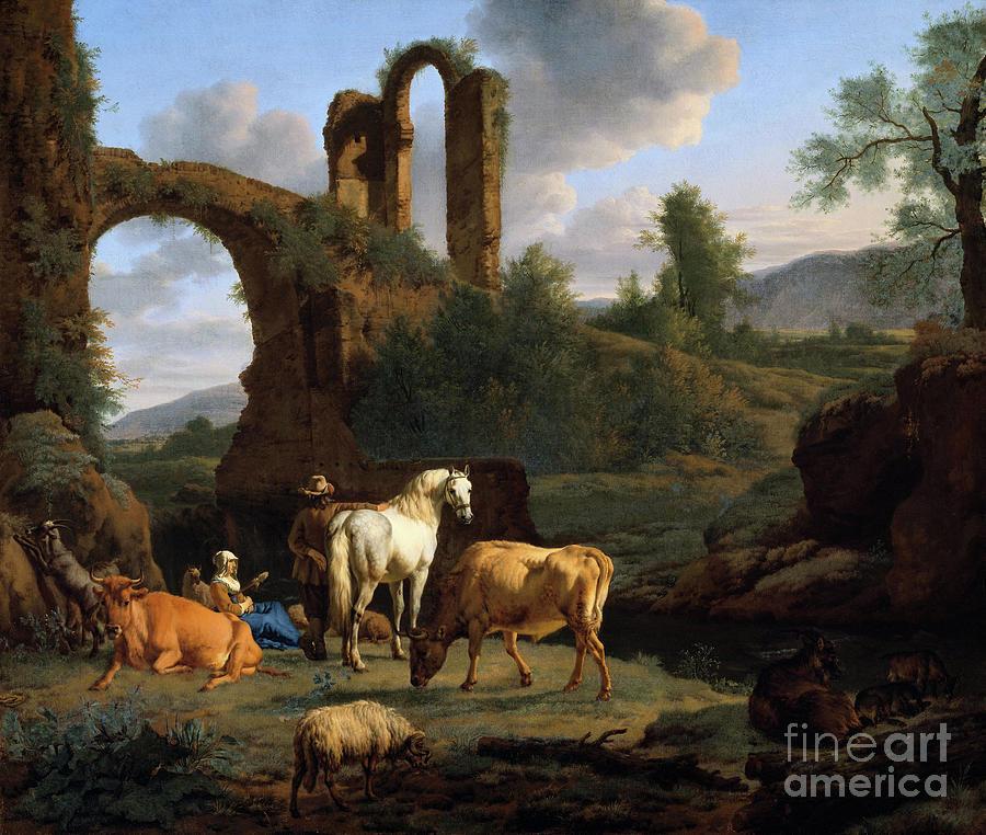 Pastoral Landscape with Ruins by Adriaen van de Velde