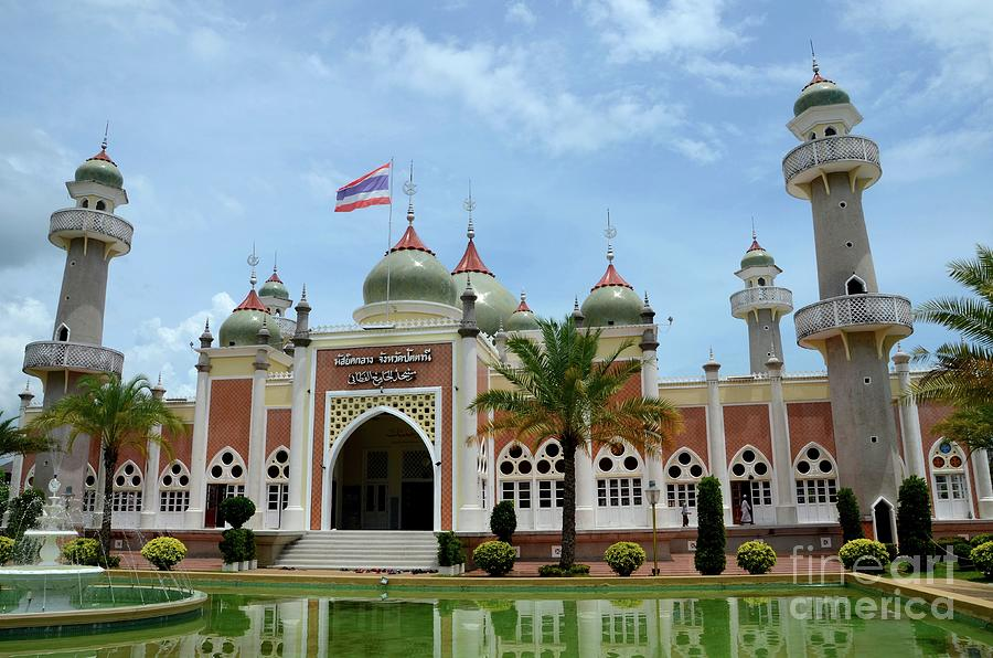 Pattani Central Mosque Courtyard With Pond Minarets And Thai Flag Thailand Photograph