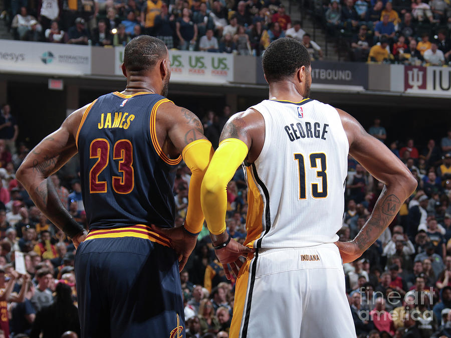 Paul George and Lebron James Photograph by Ron Hoskins