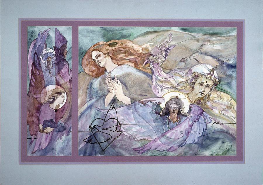 Angels Painting - Peace Thru Love by Betty Jean Billups
