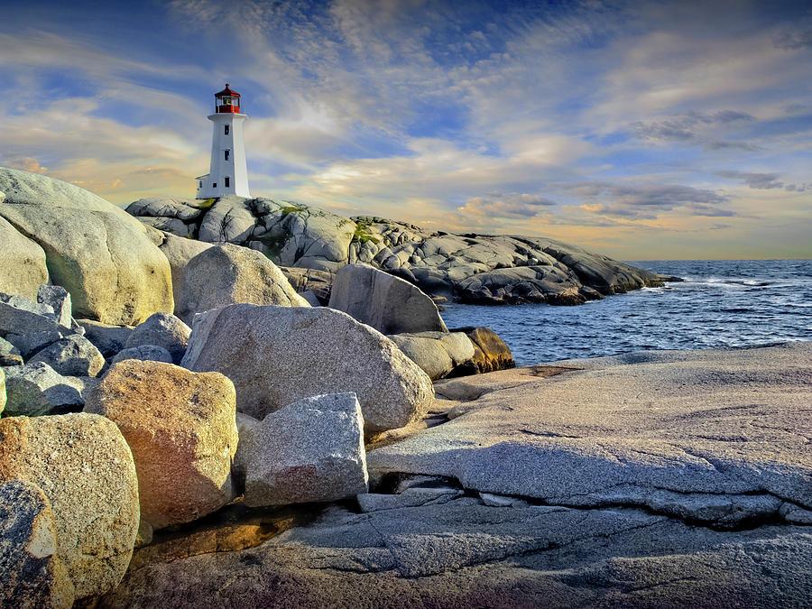 Peggys Cove Lighthouse In Nova Scotia, Canada Photograph