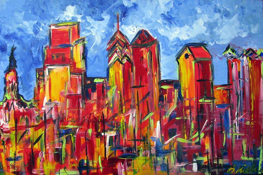 Philadelphia Painting - Red Blue Philly Skyline by Britt Miller