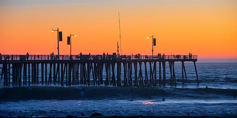 Pismo Beach Pier Photograph - Pismo Beach Pier Sunset by Zayne Diamond Photographic