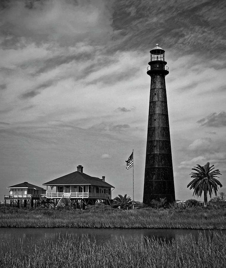 Port Bolivar Lighthouse Black And White 2 Photograph