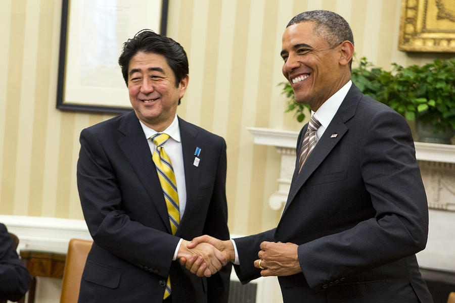 President Obama Meets With With Japanese Prime Minister Shinzo Abe Photograph by Pool