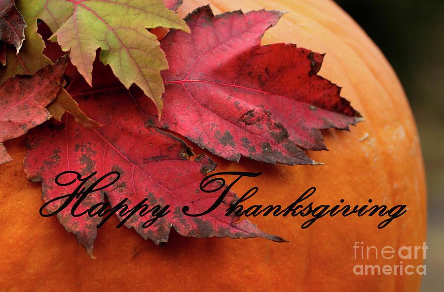 Pumpkin Greetings Happy Thanksgiving Photograph
