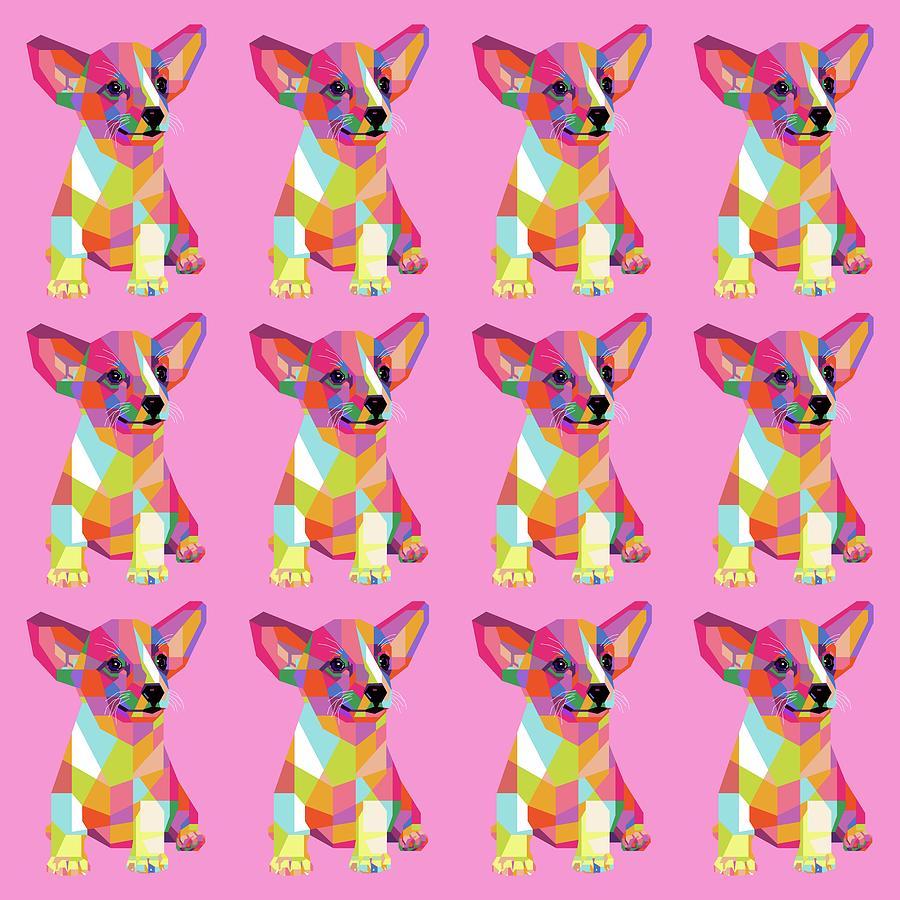 Puppy Pattern Wpap Style Pink Background Digital Art