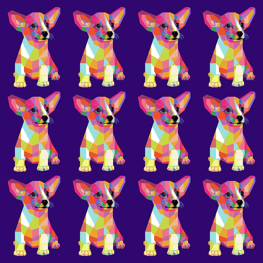 Puppy Pattern Wpap Style Purple Background Digital Art