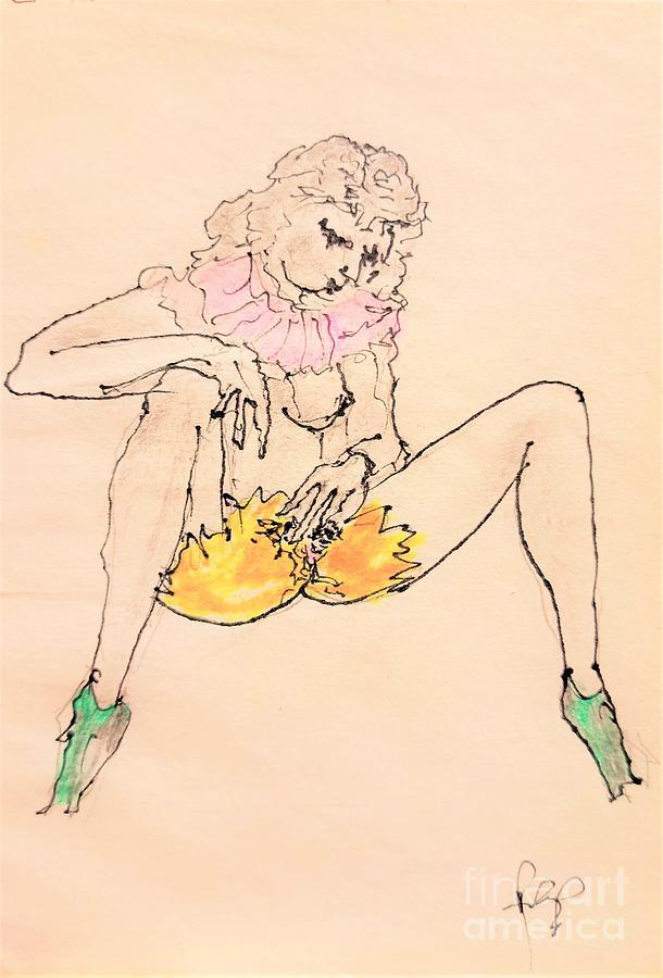Ragazza Con Scarpe Verdi Drawing