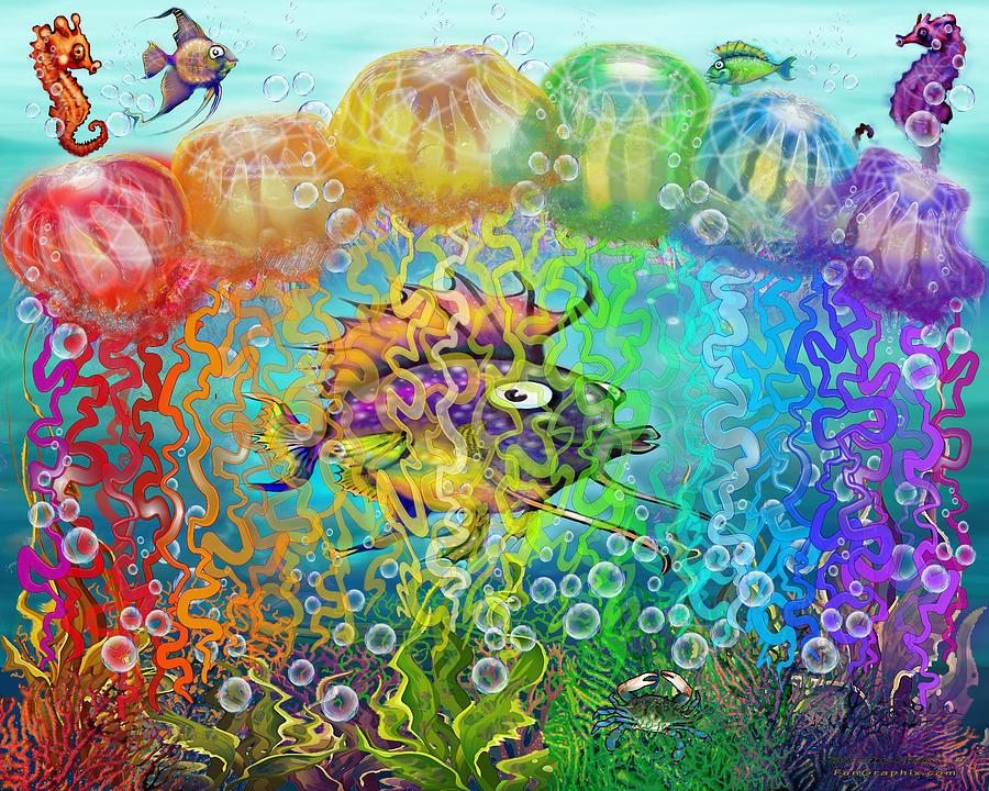 Rainbow Tentacles Digital Art