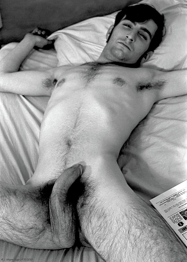 Male Nude Photograph - Reclining Male Nude, 1970 by Wayne Higgs