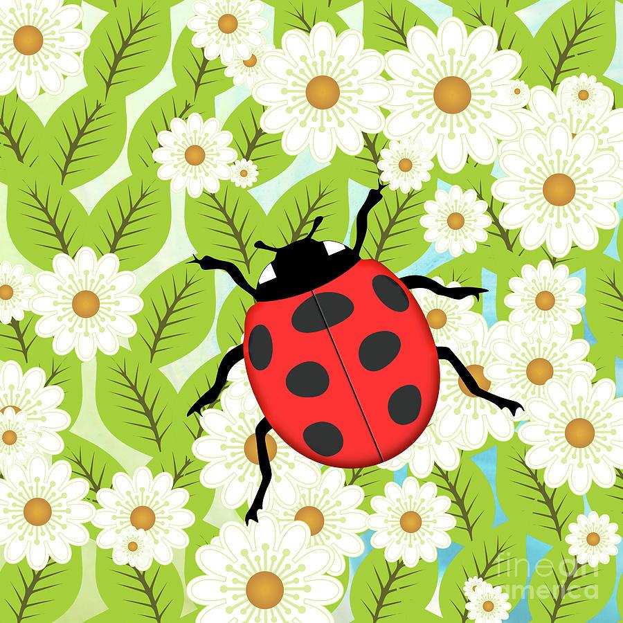 Ladybug On Foliage Digital Art