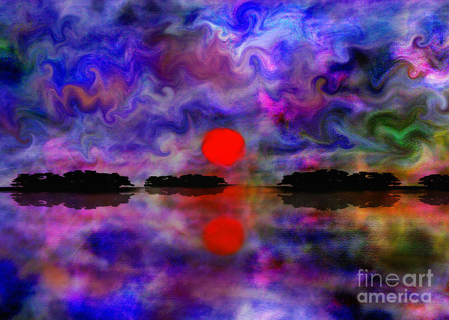 Red Sunset Over Calm Water Digital Art