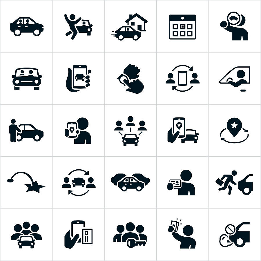 Ridesharing and Carpooling Icons Drawing by Appleuzr