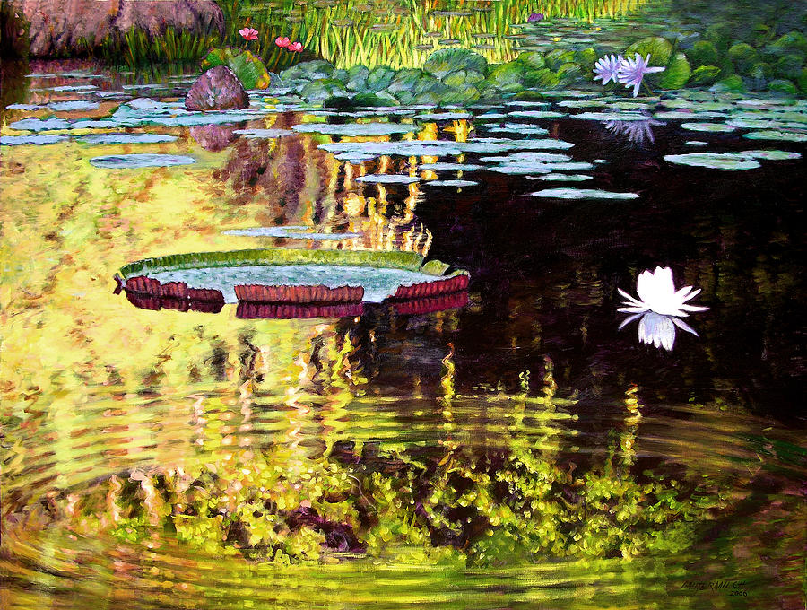 Garden Pond Painting - Ripples On A Quiet Pond by John Lautermilch