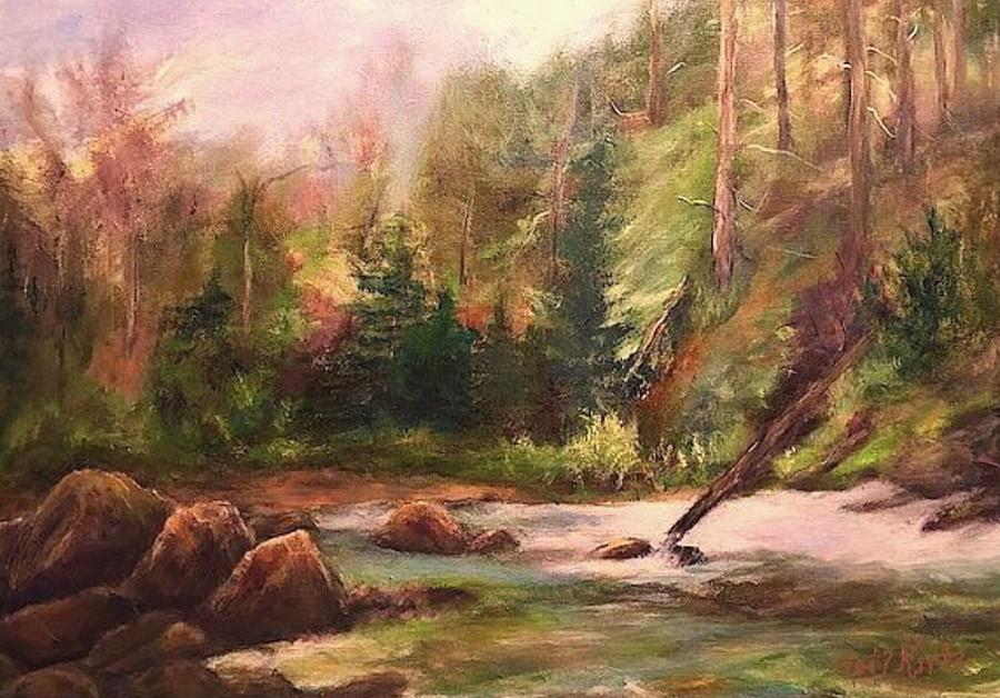 Landscape Painting - Rocky Stream by Gail Kirtz