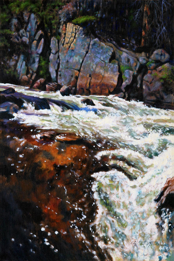 Mountain Stream Painting - Rushing Waters Colorado by John Lautermilch