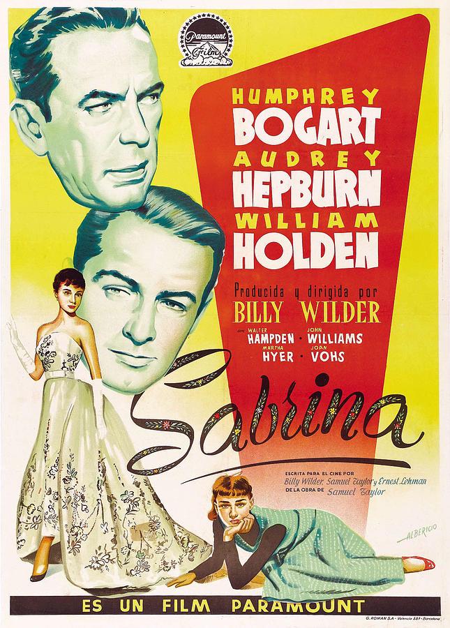 sabrina, With Humphrey Bogart And Audrey Hepburn, 1954 Mixed Media