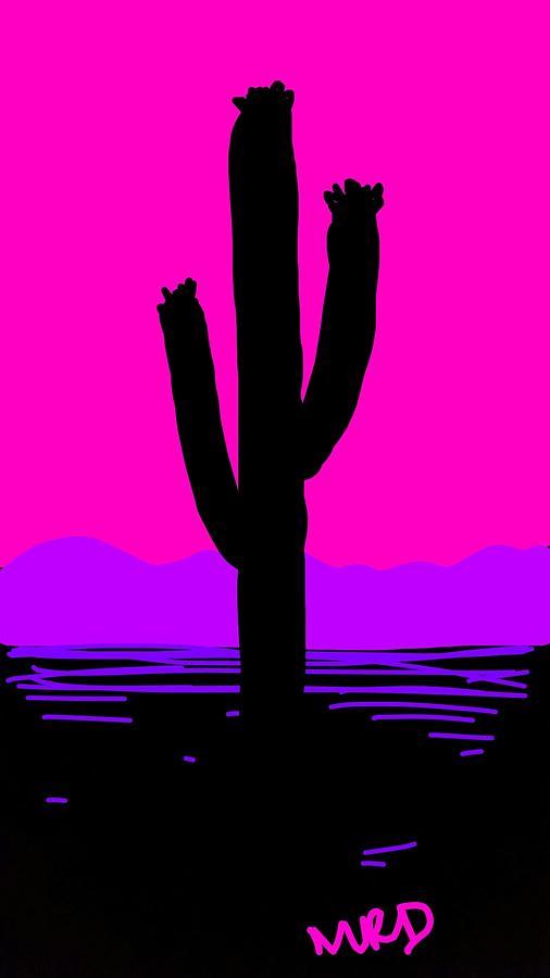 Saguaro Sunrise Drawing by Madeline Dillner