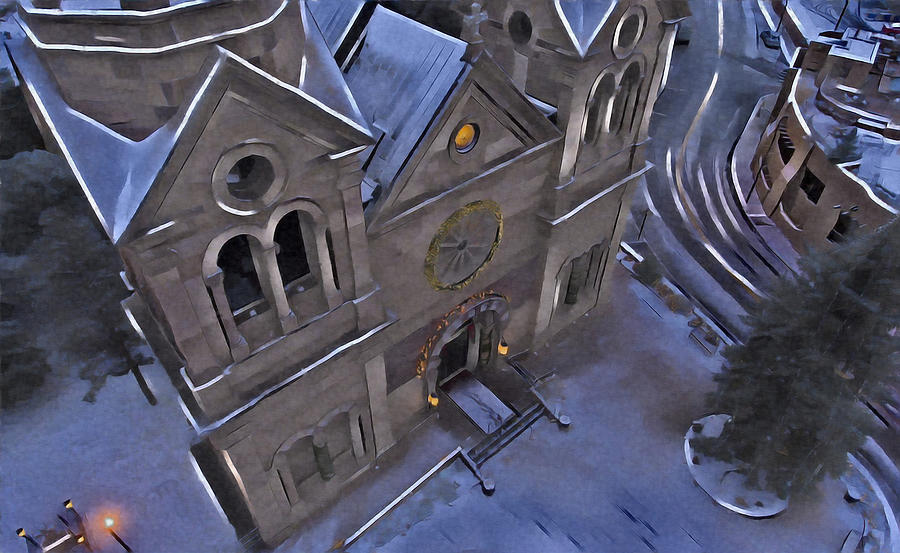 Church Digital Art - Santa Fe Cathedral by Aerial Santa Fe